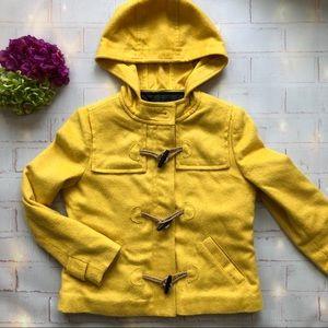 Hinge Yellow Hooded Pea Coat